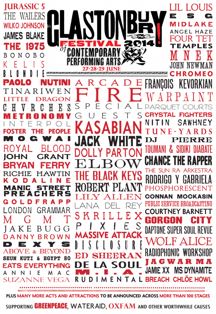 Glastonbury LIne Up Poster